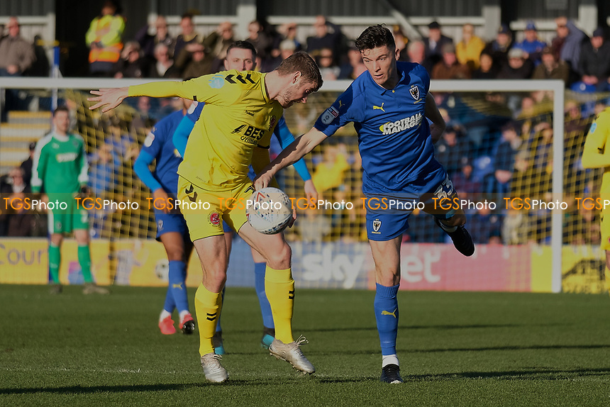 Callum Reilly of AFC Wimbledon  and Jack Sowerby of Fleetwood Town during AFC Wimbledon vs Fleetwood Town, Sky Bet EFL League 1 Football at the Cherry Red Records Stadium on 8th February 2020