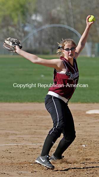 Torrington, CT-050113MK05 Torrington's Sydney Matzko delivers a pitch against Wolcott during NVL softball action at Torrington High School on Wednesday afternoon. Michael Kabelka / Republican-American.