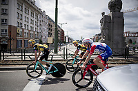 Suisse TT champion Stefan Küng (SUI/Groupama-FDJ) & Dylan Groenewegen (NED/Jumbo-Visma) returning to the start through regular Brussels traffic after the morning course reconnaissance <br /> <br /> Stage 2 (TTT): Brussels to Brussels (BEL/28km) <br /> 106th Tour de France 2019 (2.UWT)<br /> <br /> ©kramon