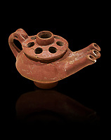 Bronze Age Anatolian terra cotta three spouted teapot - 19th to 17th century BC - Kültepe Kanesh - Museum of Anatolian Civilisations, Ankara, Turkey.  Against a black background.