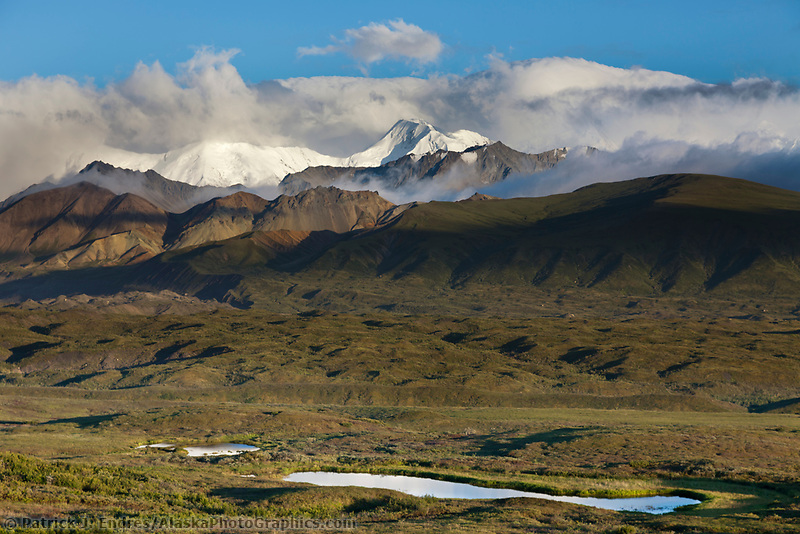 Mt mather of the Alaska Range mountains, and the moraine of the muldrow glacier, Denali National Park, Interior, Alaska.