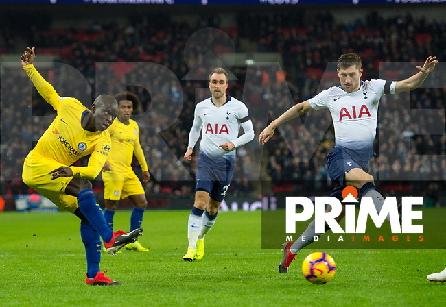 Chelsea's N'Golo Kante and Tottenham's Ben Davies during the Premier League match between Tottenham Hotspur and Chelsea at Wembley Stadium, London, England on 24 November 2018. Photo by Andrew Aleksiejczuk / PRiME Media Images.