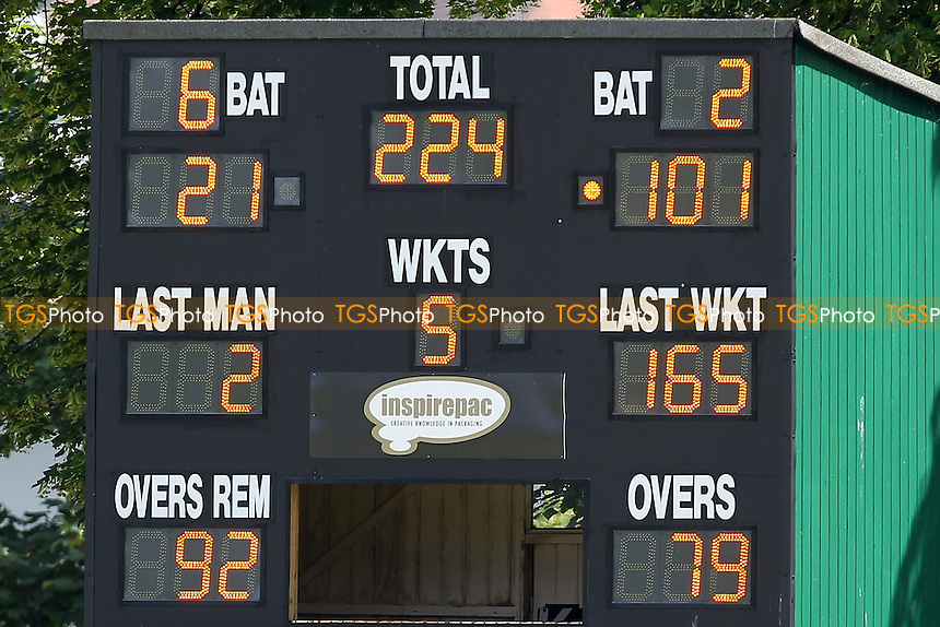 The scoreboard shows that Nick Browne of Essex has reached his maiden first class century - Derbyshire CCC vs Essex CCC - LV County Championship Division Two Cricket at Queen's Park, Chesterfield - 09/07/14 - MANDATORY CREDIT: Gavin Ellis/TGSPHOTO - Self billing applies where appropriate - 0845 094 6026 - contact@tgsphoto.co.uk - NO UNPAID USE