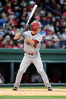 Outfielder TJ Costen (8) of the South Carolina Gamecocks bats in a game against the Furman Paladins on Wednesday, April 3, 2013, at Fluor Field at the West End in Greenville, South Carolina. (Tom Priddy/Four Seam Images)