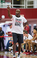 NWA Democrat-Gazette/BEN GOFF @NWABENGOFF<br /> Chris Crutchfield, Arkansas associate head coach, leads white team in the first half Saturday, Oct. 5, 2019, during the annual Arkansas Red-White Game at Barnhill Arena in Fayetteville.