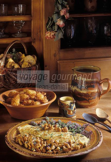 Europe/France/Rhône-Alpes/74/Haute-Savoie/Annecy: Omelette aux chanterelles et matafans  recette du chalet Hotel de la Croix-Fry