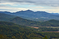 View of Cahas Knob and surroundings from an overlook along the Blue Ridge Parkway near Roanoke, Virginia