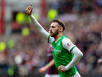 26th December 2019; Tynecastle Park, Edinburgh, Scotland; Scottish Premiership Football, Heart of Midlothian versus Hibernian FC; Martin Boyle of Hibernian celebrates after scoring Hibs and his own second goal  for 0-2 in the 31st minute- Editorial Use