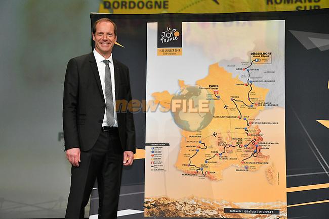 Tour de France 2017 - 18/10/2016 - Palais des congres - Paris - France - Presentation du parcours - Christian PRUDHOMME; Directeur du Cyclisme d'A.S.O.