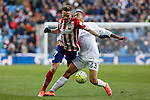 Real Madrid´s Danilo (R) and Atletico de Madrid´s Saul Niguez during 2015/16 La Liga match between Real Madrid and Atletico de Madrid at Santiago Bernabeu stadium in Madrid, Spain. February 27, 2016. (ALTERPHOTOS/Victor Blanco)