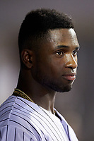 Luis Robert (9) watches from the dugout during the game against the Gwinnett Braves at BB&T BallPark on July 12, 2019 in Charlotte, North Carolina. The Stripers defeated the Knights 9-3. (Brian Westerholt/Four Seam Images)