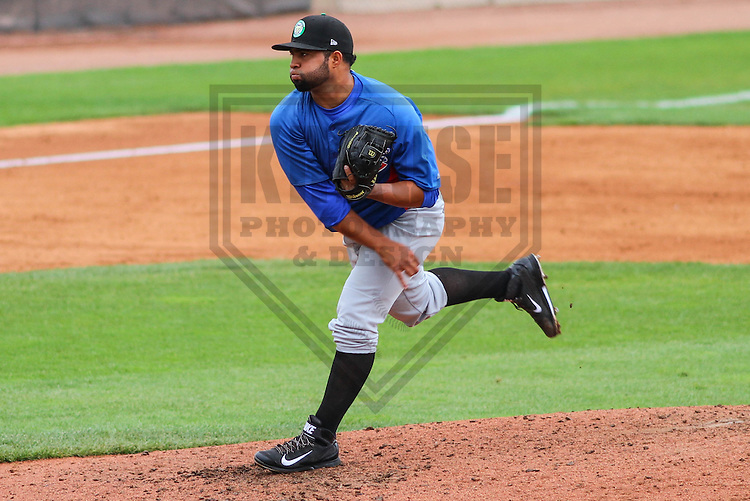 APPLETON - August 2014: Francisco Carrillo (39) of the Kane County Cougars during a game against the Wisconsin Timber Rattlers on August 17th, 2014 at Fox Cities Stadium in Appleton, Wisconsin.  (Photo Credit: Brad Krause)