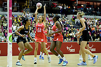 20.01.2018 Helen Housby of the England Roses shoots during the Netball Quad Series netball match between England Roses and Silver Ferns at the Copper Box Arena in London. Mandatory Photo Credit: ©Ben Queenborough/Michael Bradley Photography