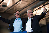 United States Senator Mark Warner (Democrat of Virginia) and Terry McAuliffe, Democratic nominee in the 2013 Virginia gubernatorial election, campaign at an event at Washington-Lee High School, Arlington, Virginia, U.S., on Sunday, November 3, 2013. <br /> Credit: Pete Marovich / Pool via CNP
