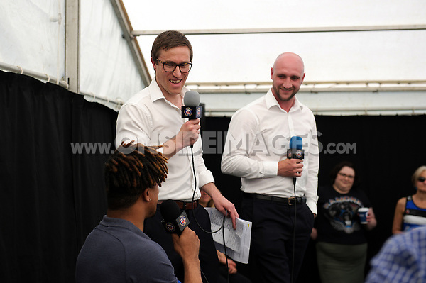 Bath Rugby CEO Tarquin McDonald, Academy Manager Andy Rock and Anthony Watson at a season ticket holders event prior to the match. Aviva Premiership match, between Bath Rugby and London Irish on May 5, 2018 at the Recreation Ground in Bath, England. Photo by: Patrick Khachfe / Onside Images