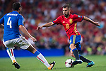 Jordi Alba (L)  of Spain fights for the ball with Matteo Darmian (R) of Italy during their 2018 FIFA World Cup Russia Final Qualification Round 1 Group G match between Spain and Italy on 02 September 2017, at Santiago Bernabeu Stadium, in Madrid, Spain. Photo by Diego Gonzalez / Power Sport Images