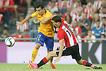 Athletic de Bilbao's Oscar de Marcos (r) and FC Barcelona's Pedro Rodriguez during Supercup of Spain 1st match.August 14,2015. (ALTERPHOTOS/Acero)