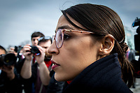 Representative Alexandria Ocasio-Cortez, Democrat of New York, leaves after speaking at a press conference calling for an end to immigrant detentions along the Southern United States border held at the United States Capitol in Washington, DC on February 7, 2019. Credit: Alex Edelman / CNP/AdMedia