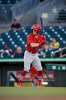 Palm Beach Cardinals right fielder Conner Capel (8) at bat during a game against the Jupiter Hammerheads on August 4, 2018 at Roger Dean Chevrolet Stadium in Jupiter, Florida.  Palm Beach defeated Jupiter 7-6.  (Mike Janes/Four Seam Images)