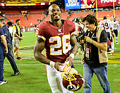Washington Redskins running back Adrian Peterson (26) leaves the field following the game against the Chicago Bears at FedEx Field in Landover, Maryland on Monday, September 23, 2019.  The Bears won the game 31 - 15.<br /> Credit: Ron Sachs / CNP