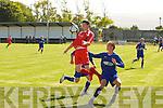 Tralee Dynamos Paudie Quinn and Limerick F.C.'s Darren Lynch....