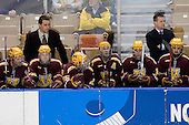?, RJ Anderson (Minnesota - 6), Drew Fisher (Minnesota - 25), Mike Howe (Minnesota - 24), Justin Bostrom (Minnesota - 14), Don Lucia (Minnesota - Head Coach), ? - The Boston College Eagles defeated the University of Minnesota Golden Gophers 5-2 on Saturday, March 29, 2008, in the NCAA Northeast Regional Semi-Final at the DCU Center in Worcester, Massachusetts.