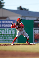 Williamsport Crosscutters shortstop Jonathan Guzman (6) turns a double play during a game against the Batavia Muckdogs on June 21, 2018 at Dwyer Stadium in Batavia, New York.  Batavia defeated Williamsport 6-5.  (Mike Janes/Four Seam Images)