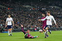 Christian Eriksen of Tottenham Hotspur scores the opening Spurs goal during Tottenham Hotspur vs Manchester City, Premier League Football at Wembley Stadium on 14th April 2018