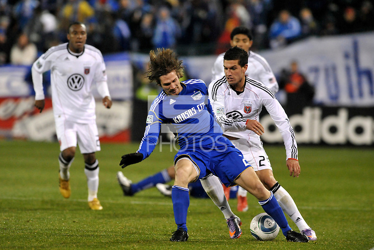 Jonathan Leathers (blue), Santino Quaranta...Kansas City Wizards defeated D.C Utd 4-0 in their home opener at Community America Ballpark, Kansas City, Kansas.