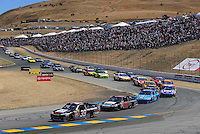 Jun. 21, 2009; Sonoma, CA, USA; NASCAR Sprint Cup Series driver Ryan Newman (39) leads a pack of cars during the SaveMart 350 at Infineon Raceway. Mandatory Credit: Mark J. Rebilas-