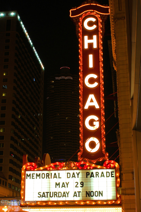 The famous Chicago Theatre sign at night on Memorial Day