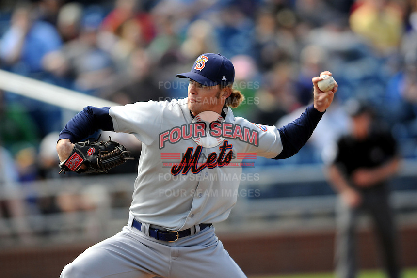Binghamton Mets  pitcher Shawn Teufel #18 during a game versus the Portland Sea Dogs at Hadlock Field in Portland, Maine on May 18, 2013.  (Ken Babbitt/Four Seam Images)