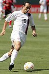 9 June 2007: United States midfielder Landon Donovan became the all-time United States scoring leader with an assist on this run to teammate Eddie Johnson (not pictured), who scored an easy goal.  The goal gave the United States a 2-0 lead in the 54th minute. The United States Men's National Team defeated the National Team of Trinidad & Tobago 2-0 at the Home Depot Center in Carson, California in a first round game in the CONCACAF Gold Cup.