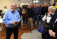 NWA Democrat-Gazette/ANDY SHUPE<br /> Gordon Whitbeck (left), president and microbiologist of Whitbeck Labs in Springdale, speaks to visitors Wednesday, Jan. 18, 2017, at the newly constructed office and laboratory for the longtime poultry testing company in Springdale during a grand opening celebration.