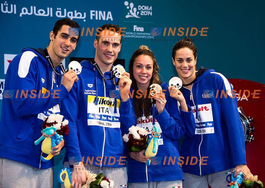 Brasil Gold Medal <br /> Great Britain Silver Medal<br /> Italy Bronze Medal<br /> Mixed 4x50m Medley Relay<br /> Doha Qatar 04-12-2014 Hamad Aquatic Centre, 12th FINA World Swimming Championships (25m). Nuoto Campionati mondiali di nuoto in vasca corta.<br /> Photo Giorgio Scala/Deepbluemedia/Insidefoto