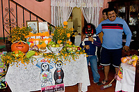 Oaxaca, Mexico, North America.  Day of the Dead Celebrations.  Altar Decorations.  Skeleton, Skull, Flowers, Marigolds.  Cemetery Decorations in Memory of the Dead.