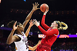COLUMBUS, OH - MARCH 30: Sam Fuehring #3 of the Louisville Cardinals shoots over Teaira McCowan #15 of the Mississippi State Bulldogs during a semifinal game of the 2018 Division I Women's Basketball Final Four at Nationwide Arena in Columbus, Ohio. (Ben Solomon/NCAA Photos via Getty Images)