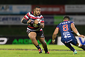 Gafatasi Su'u looks to step past Peter Samu. Mitre 10 Cup game between Counties Manukau Steelers and Tasman Mako's, played at ECOLight Stadium Pukekohe on Saturday October 14th 2017. Counties Manukau won the game 52 - 30 after trailing 22 - 19 at halftime. <br /> Photo by Richard Spranger.