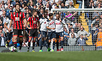 Vincent Janssen of Tottenham Hotspur is congratulated by Son Heung-Min after scoring his side's fourth goal during the Premier League match between Tottenham Hotspur and Bournemouth at White Hart Lane, London, England on 15 April 2017. Photo by Mark  Hawkins / PRiME Media Images.
