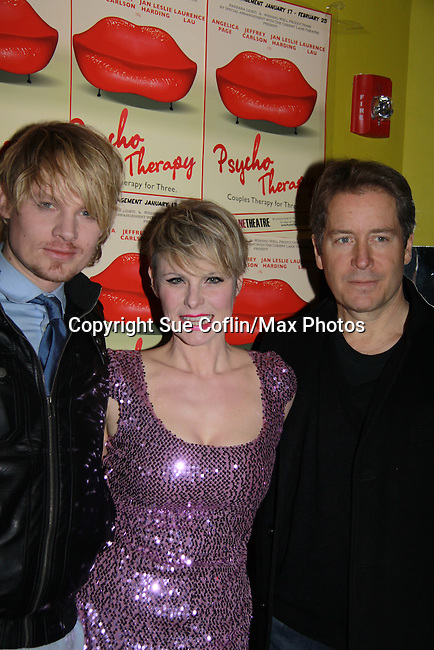 """Opening Night - All My Children's Jeffrey Carlson """"Zoe/Zarf"""" and Laurence Lau (L) """"Greg Nelson, OLTL Sam Rappaport, Another World """"Jamie Frame"""" and As The World Turns star with Angelica Page (3rd right) in Psycho Therapy on February 7, 2012 at the Cherry Lane Theatre, New York City, New York. After party at Sushi Samba, NYC. (Photo by Sue Coflin/Max Photos)"""