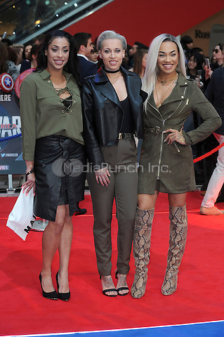 LONDON, ENGLAND - APRIL 26: Stooshe attend the European premiere of Captain America: Civil War at Westfield Shopping Centre on April 26, 2016 in London, England.<br /> CAP/BEL<br /> &copy;BEL/Capital Pictures /MediaPunch ***NORTH AMERICAN AND SOUTH AMERICAN SALES ONLY***