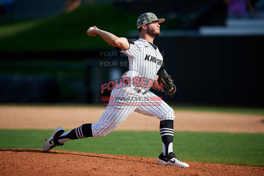 UCF Knights relief pitcher Liam Silvagnoli (43) delivers a pitch during a game against the Siena Saints on February 17, 2019 at John Euliano Park in Orlando, Florida.  UCF defeated Siena 7-1.  (Mike Janes/Four Seam Images)