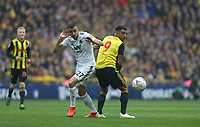 Watford's Troy Deeney and Wolverhampton Wanderers' Romain Saiss<br /> <br /> Photographer Rob Newell/CameraSport<br /> <br /> Emirates FA Cup Semi-Final  - Watford v Wolverhampton Wanderers - Sunday 7th April 2019 - Wembley Stadium - London<br />  <br /> World Copyright © 2019 CameraSport. All rights reserved. 43 Linden Ave. Countesthorpe. Leicester. England. LE8 5PG - Tel: +44 (0) 116 277 4147 - admin@camerasport.com - www.camerasport.com