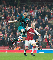 Arsenal's Jack Wilshere and Southampton's Oriol  Romeu during the EPL - Premier League match between Arsenal and Southampton at the Emirates Stadium, London, England on 8 April 2018. Photo by Andrew Aleksiejczuk / PRiME Media Images.