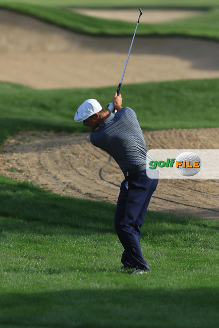 Bryson Dechambeau (USA) on the 16th during Round 4 of the Omega Dubai Desert Classic, Emirates Golf Club, Dubai,  United Arab Emirates. 27/01/2019<br /> Picture: Golffile | Thos Caffrey<br /> <br /> <br /> All photo usage must carry mandatory copyright credit (&copy; Golffile | Thos Caffrey)