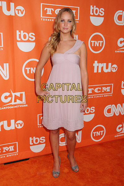 JENNIFER LAWRENCE.Turner Summer 2008 TCA Party at the Beverly Hilton Hotel, Beverly Hills, California, USA..July 11th, 2008.full length dress hand on hip pink purple one shoulder .CAP/ADM/BP.©Byron Purvis/AdMedia/Capital Pictures.