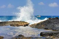 Wave crashing on the coast, Snorkling tour boats, Tidepool, Kailua Kona, The Big Island of Hawaii