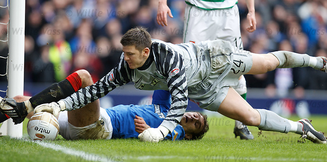 Lukasz Zaluska spills the ball as Nikica Jelavic challenges and it trundles over the line for a corner kick