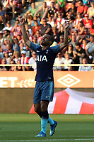 Lucas Maura of Tottenham celebrates scoring the first goal during Girona FC vs Tottenham Hotspur, Friendly Match Football at Estadi Montilivi on 4th August 2018