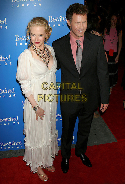"NICOLE KIDMAN & WILL FERRELL.""Bewitched""  World  Film Premiere, . Ziegfeld Theater, New York City, USA, .June 13, 2005..full length white cream floaty dress gold necklace chunky flat shoes sandals flipflops.Ref: IW.www.capitalpictures.com.sales@capitalpictures.com.©Ian Wilson/Capital Pictures."